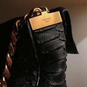 Céline Black Python Gourmette Shoulder Bag